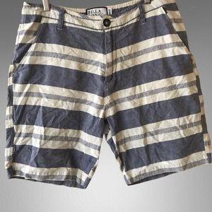 Billabong chambray striped Bermuda shorts.
